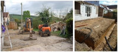 Foundations for the new timber frame extension have been dug.