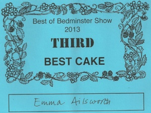 Emma was also awarded third in Best Cake, but that's another story.