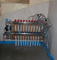 Manifold for the underfloor heating.