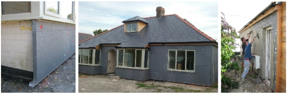 External wall insulation is quickly screwed on, turning the house black, before the weather proof render finish.