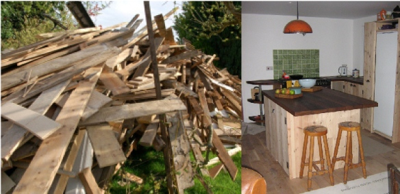 From woodpile to amazing recycled kitchen!